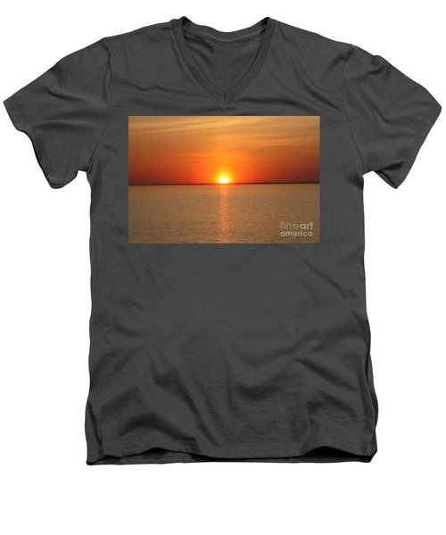 Men's V-Neck T-Shirt featuring the photograph Red-hot Sunset by John Telfer