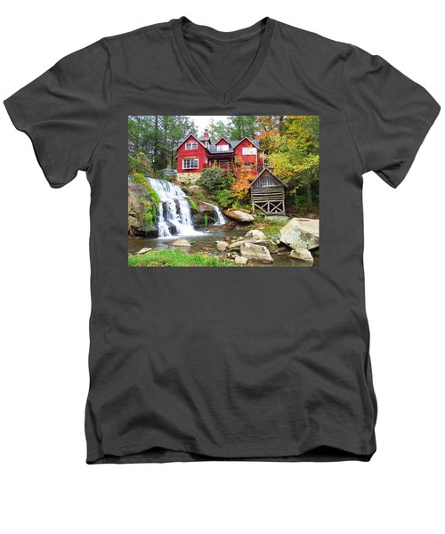 Red House By The Waterfall Men's V-Neck T-Shirt