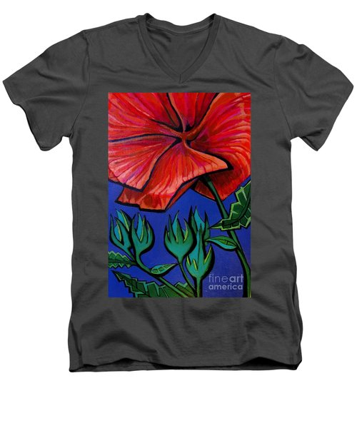 Red Ibiscus - Botanical Men's V-Neck T-Shirt