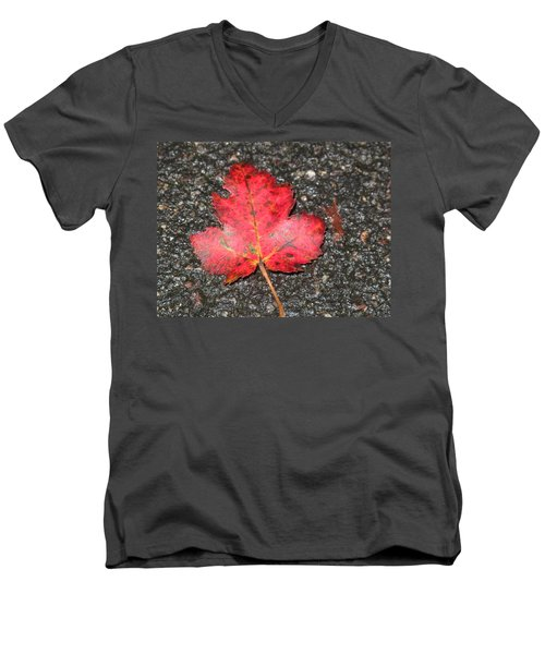 Men's V-Neck T-Shirt featuring the photograph Red Leaf On Pavement by Barbara McDevitt