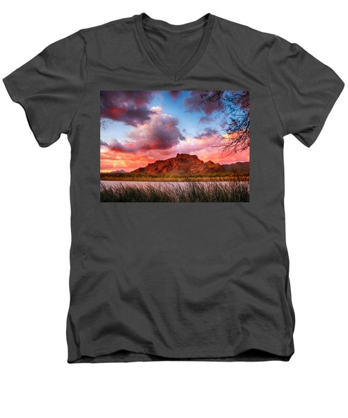 Red Mountain Sunset Men's V-Neck T-Shirt by John Haldane