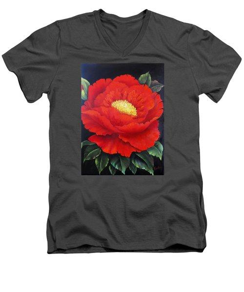 Red Peony Men's V-Neck T-Shirt by Katia Aho