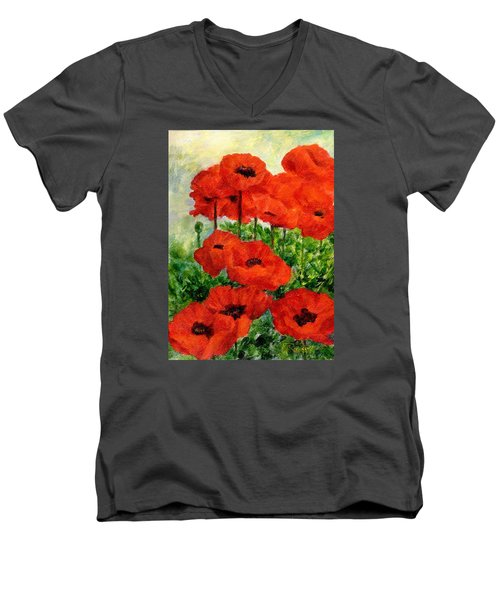 Red  Poppies In Shade Colorful Flowers Garden Art Men's V-Neck T-Shirt by Elizabeth Sawyer