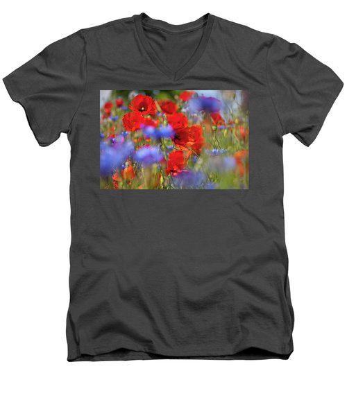 Red Poppies In The Maedow Men's V-Neck T-Shirt by Heiko Koehrer-Wagner