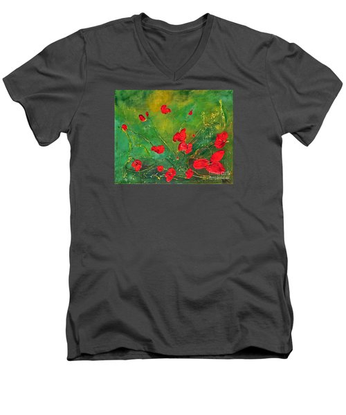Men's V-Neck T-Shirt featuring the painting Red Poppies by Teresa Wegrzyn