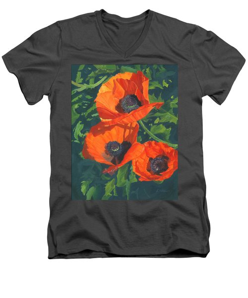 Men's V-Neck T-Shirt featuring the painting Red Poppies Three by Lynne Reichhart