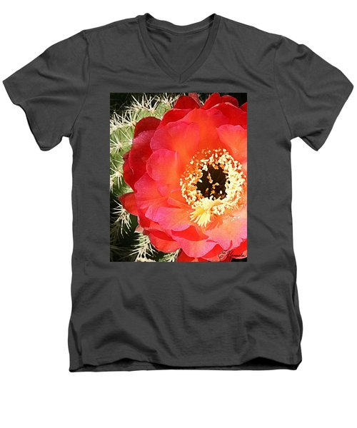 Red Prickly Pear Blossom Men's V-Neck T-Shirt by Ellen Henneke