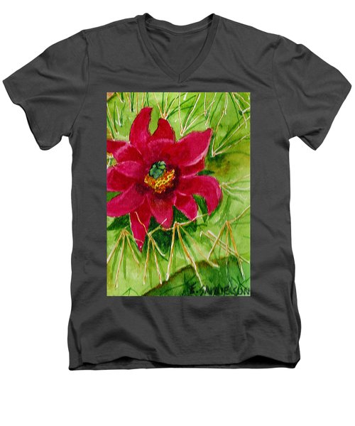 Red Prickly Pear Men's V-Neck T-Shirt by Eric Samuelson