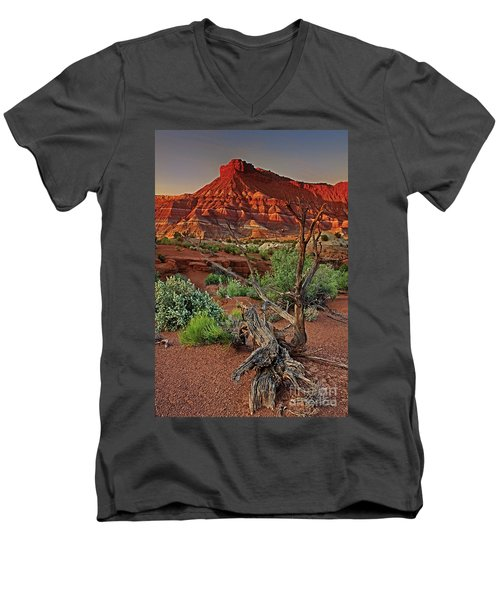 Men's V-Neck T-Shirt featuring the photograph Red Rock Butte And Juniper Snag Paria Canyon Utah by Dave Welling