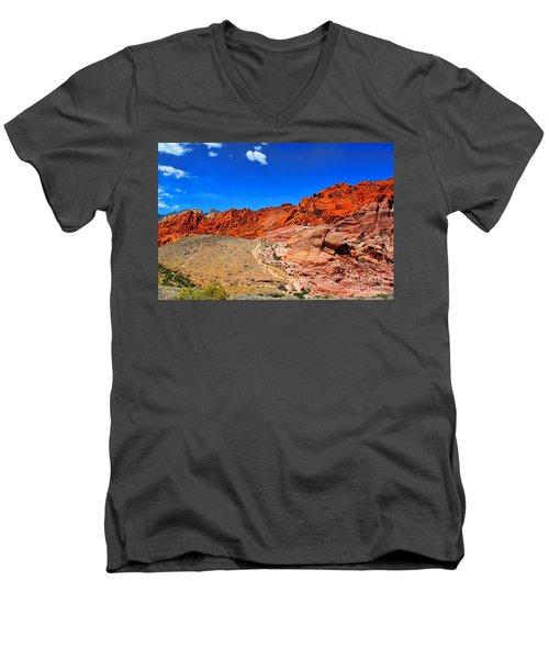 Red Rock Canyon Men's V-Neck T-Shirt by Mariola Bitner