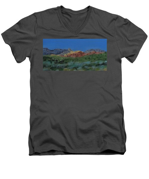 Red Rock Canyon Panorama Men's V-Neck T-Shirt