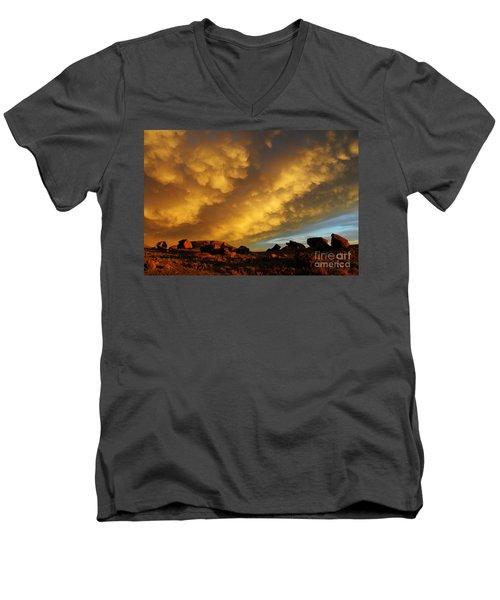 Red Rock Coulee Sunset Men's V-Neck T-Shirt by Vivian Christopher