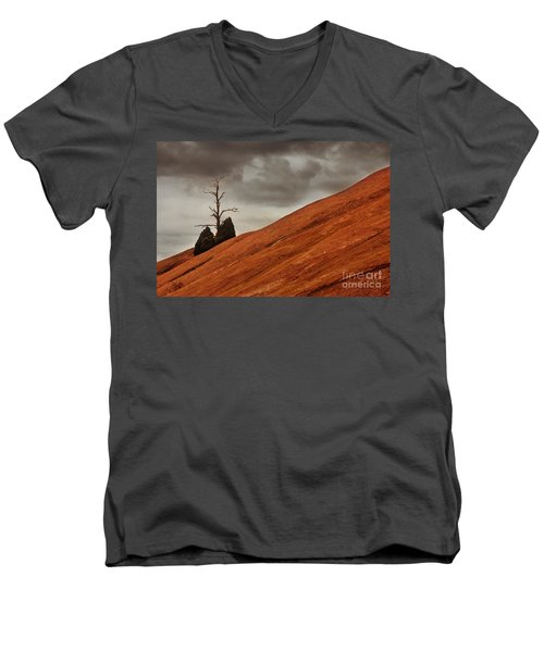 Men's V-Neck T-Shirt featuring the photograph Red Rock by Dana DiPasquale