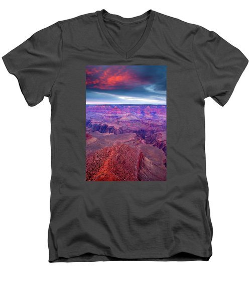Red Rock Dusk Men's V-Neck T-Shirt by Mike  Dawson