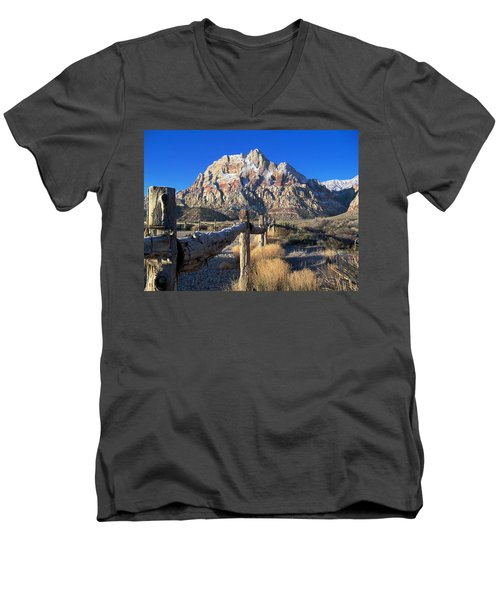 Men's V-Neck T-Shirt featuring the photograph Red Rock Snow by Alan Socolik