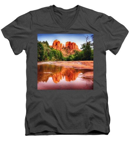 Red Rock State Park - Cathedral Rock Men's V-Neck T-Shirt by Bob and Nadine Johnston