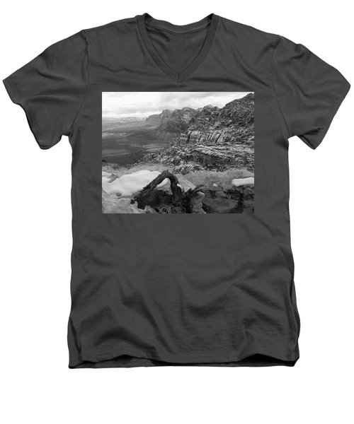 Men's V-Neck T-Shirt featuring the photograph Red Rock Winter by Alan Socolik