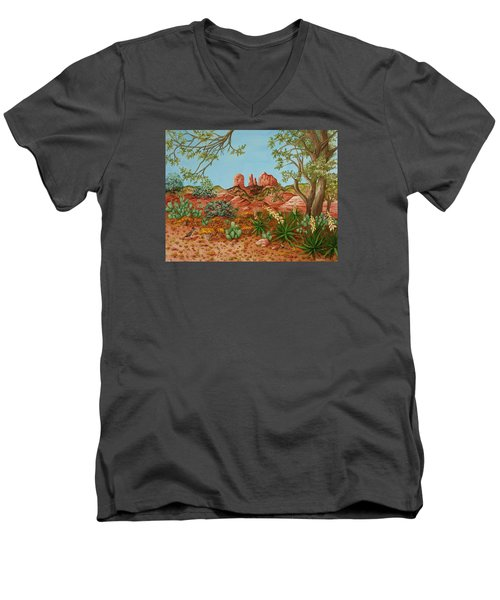 Men's V-Neck T-Shirt featuring the painting Landscapes Desert Red Rocks Of Sedona Arizona by Katherine Young-Beck