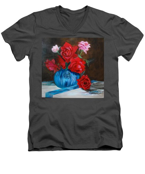 Men's V-Neck T-Shirt featuring the painting Red Roses And Blue Vase by Jenny Lee