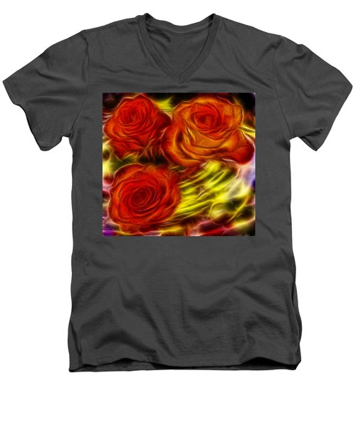 Men's V-Neck T-Shirt featuring the painting Red Roses In Water - Fractal  by Lilia D