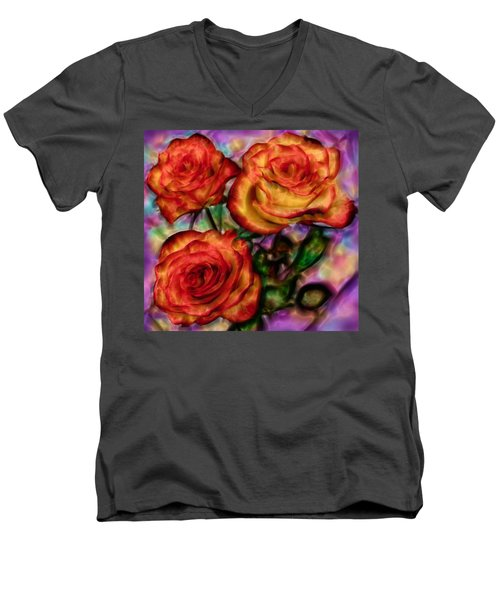 Men's V-Neck T-Shirt featuring the digital art Red Roses In Water - Silk Edition by Lilia D