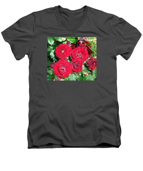 Men's V-Neck T-Shirt featuring the photograph Red Roses by Vesna Martinjak
