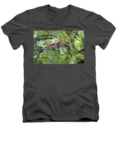 Men's V-Neck T-Shirt featuring the photograph Red Salmon In Steep Creek by Cathy Mahnke