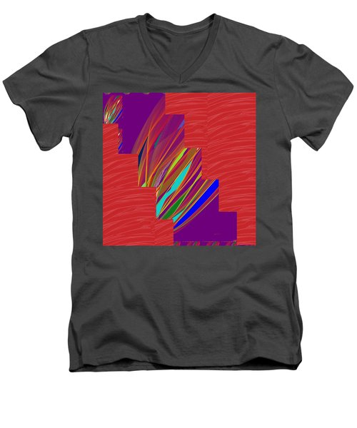 Men's V-Neck T-Shirt featuring the photograph Red Sparkle And Blue Lightening Across by Navin Joshi