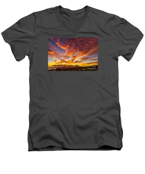 Men's V-Neck T-Shirt featuring the photograph Red Sunset Behind The Waianae Mountain Range by Aloha Art