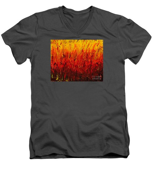 Men's V-Neck T-Shirt featuring the painting RED by Teresa Wegrzyn