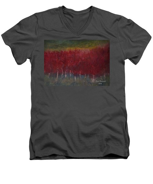Red Trees Watercolor Men's V-Neck T-Shirt by Dick Bourgault