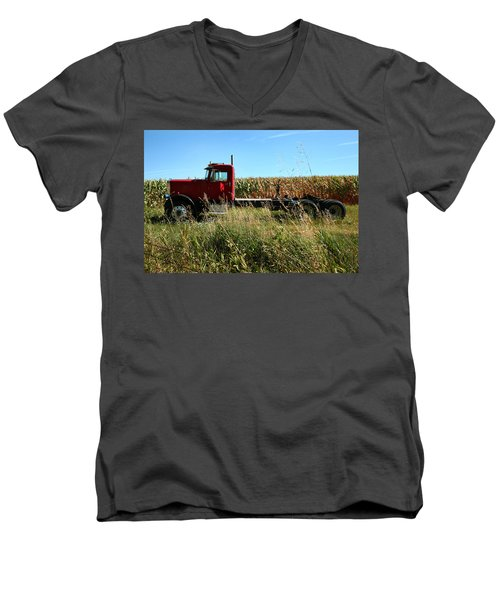 Red Truck In A Corn Field Men's V-Neck T-Shirt by Lon Casler Bixby