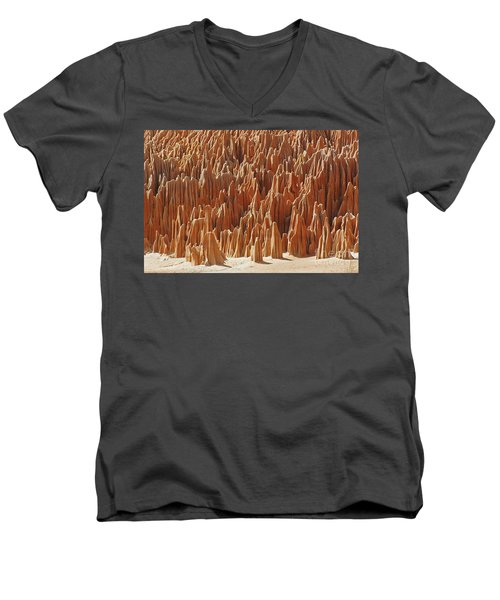 Men's V-Neck T-Shirt featuring the photograph red Tsingy Madagascar 1 by Rudi Prott