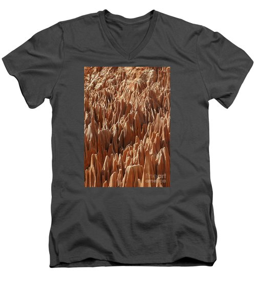 Men's V-Neck T-Shirt featuring the photograph red Tsingy Madagascar 3 by Rudi Prott
