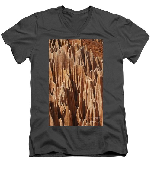 Men's V-Neck T-Shirt featuring the photograph red Tsingy Madagascar 5 by Rudi Prott