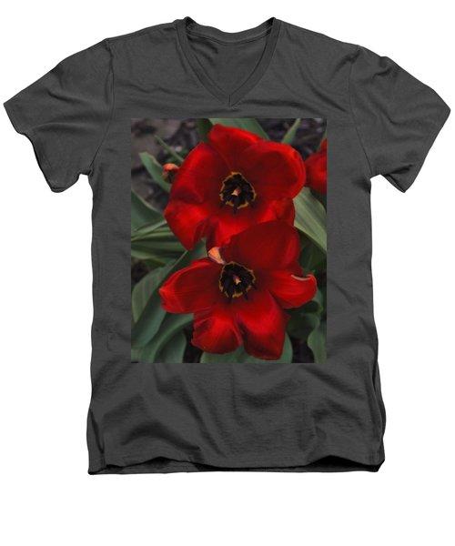 Red Tulip Pair Men's V-Neck T-Shirt