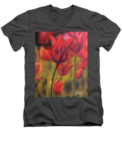 Men's V-Neck T-Shirt featuring the painting Red Tulips by Donna Tuten