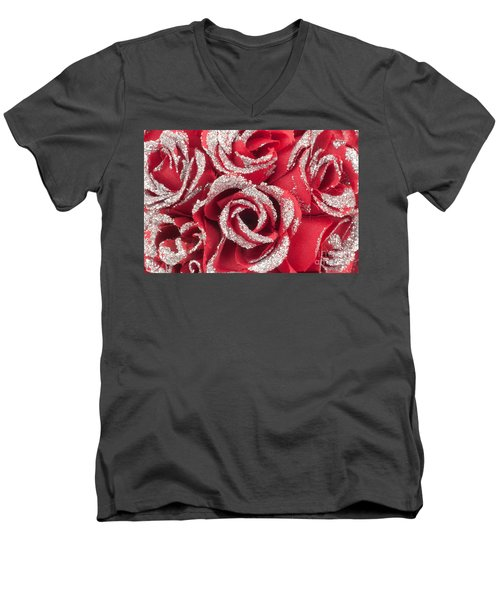 Men's V-Neck T-Shirt featuring the photograph Red Valentines Day Roses by Gunter Nezhoda