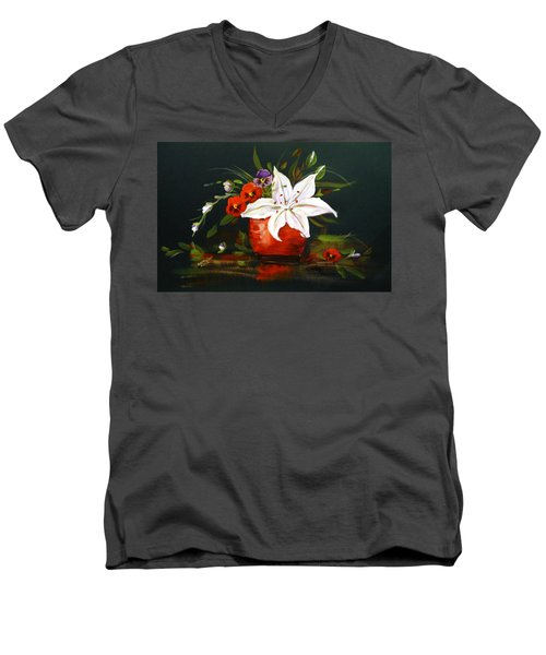 Men's V-Neck T-Shirt featuring the painting Red Vase With Lily And Pansies by Dorothy Maier