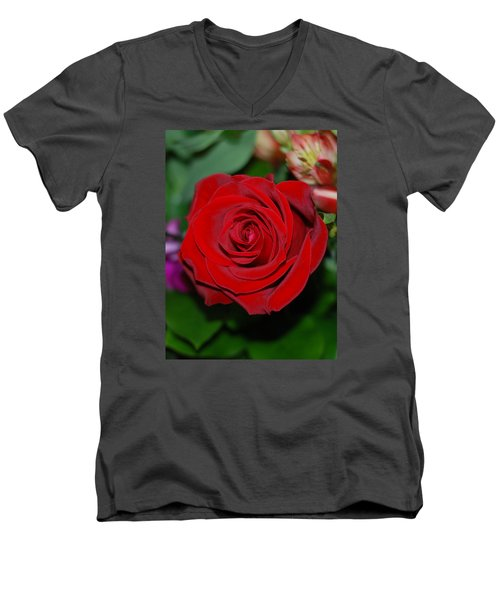 Men's V-Neck T-Shirt featuring the photograph Red Velvet Rose by Connie Fox
