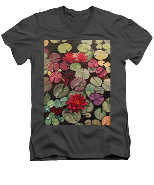 Red Water Lilies Men's V-Neck T-Shirt