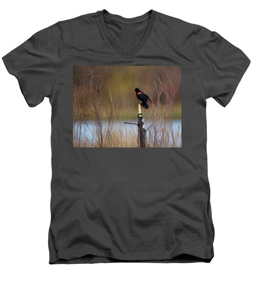 Red Winged Blackbird 2 Men's V-Neck T-Shirt