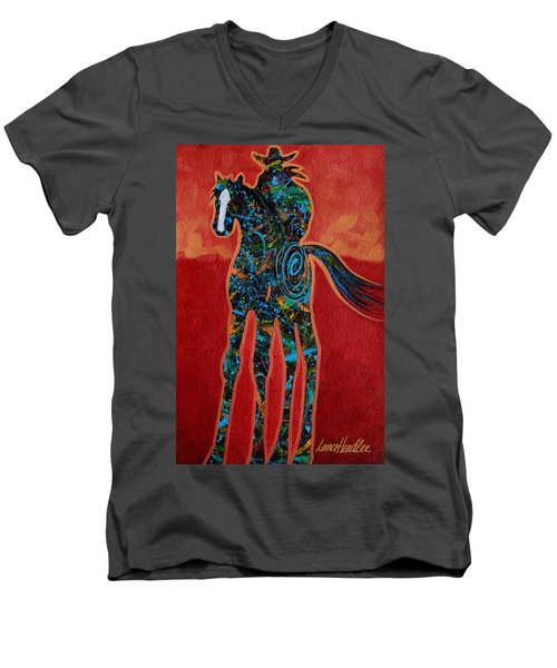 Red With Rope Men's V-Neck T-Shirt by Lance Headlee