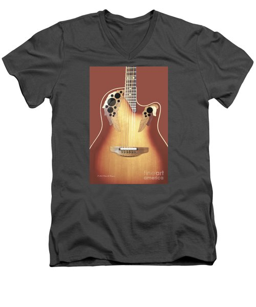 Redish-brown Guitar On Redish-brown Background Men's V-Neck T-Shirt