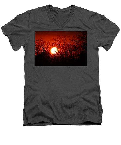 Redorange Sunset Men's V-Neck T-Shirt by Matt Harang