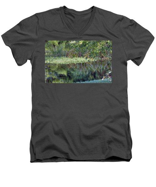 Men's V-Neck T-Shirt featuring the photograph Reed Reflections by Kate Brown