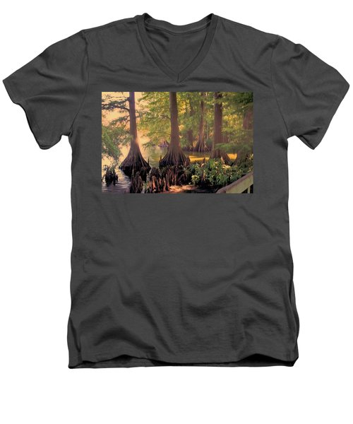 Reelfoot Lake At Sunset Men's V-Neck T-Shirt by Bonnie Willis