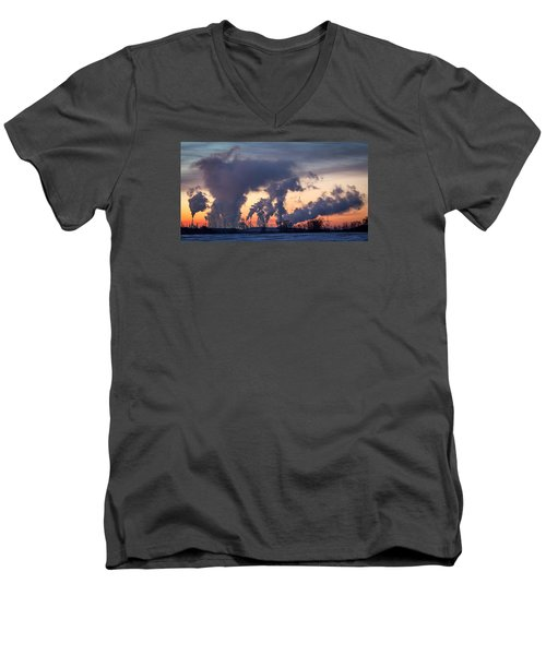 Men's V-Neck T-Shirt featuring the photograph Flint Hills Resources Pine Bend Refinery by Patti Deters