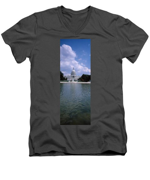 Reflecting Pool With A Government Men's V-Neck T-Shirt by Panoramic Images