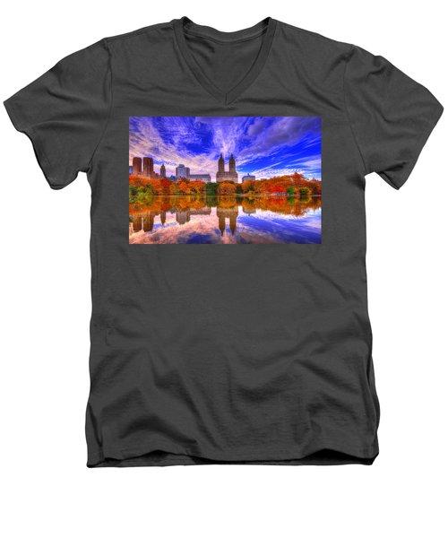 Reflection Of City Men's V-Neck T-Shirt by Midori Chan